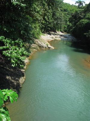 Rio Barú below bridge - bajo el puente.